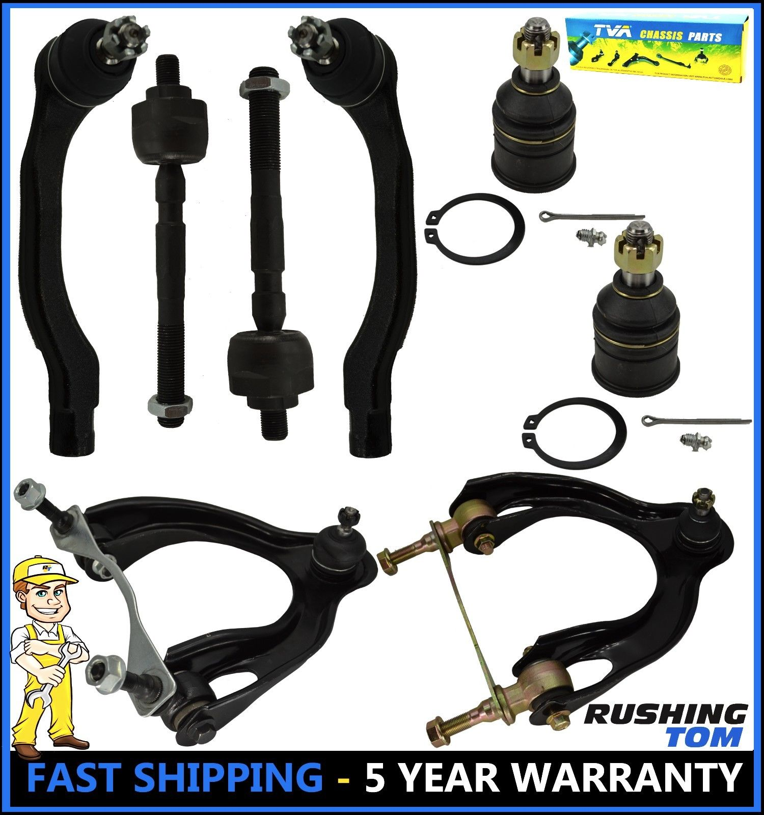 10 Pc Suspension Kit for Integra Civic /& Civic del Sol Upper//Lower Ball Joints